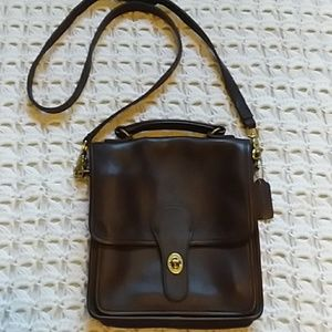 Brown leather coach crossbody gold accents